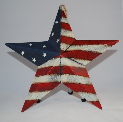 "9"" Rustic Tin Stars & Stripes Star"