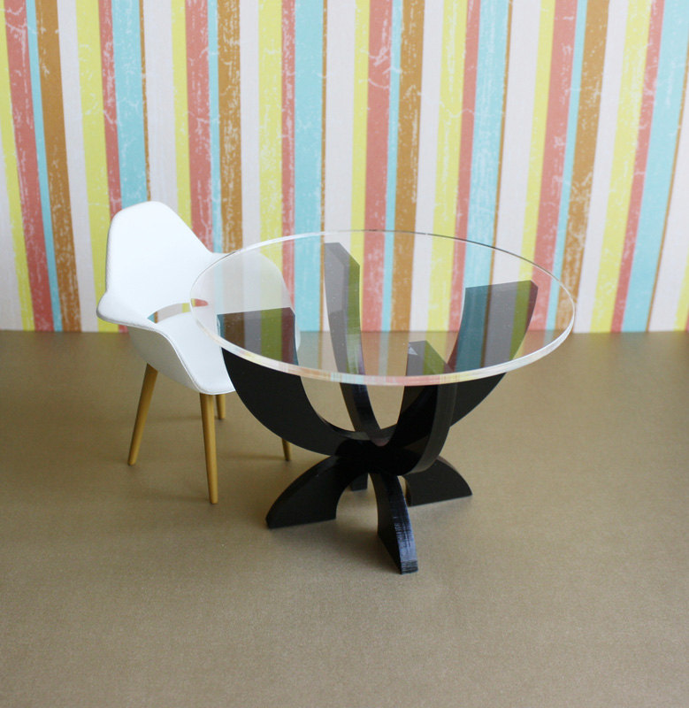 """XCurve"" Dining / Kitchen Table, Modern Dollhouse"