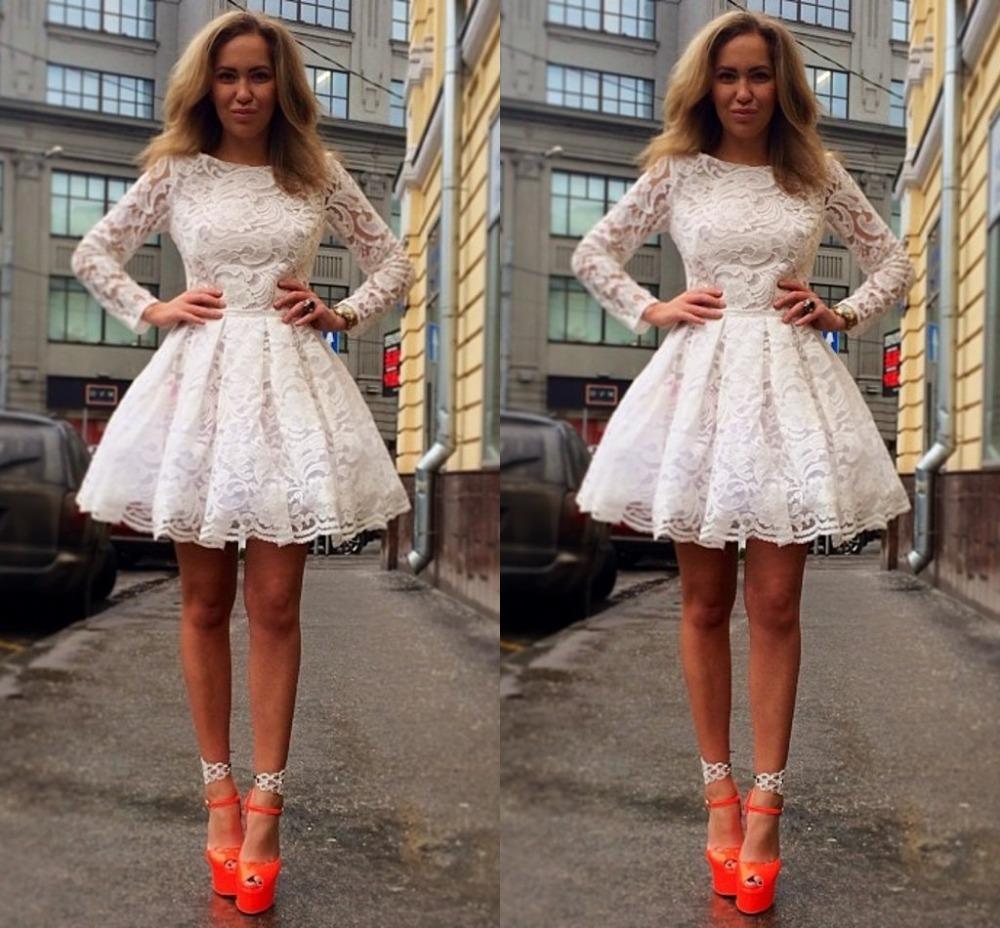White Short Cocktail Dresses Long