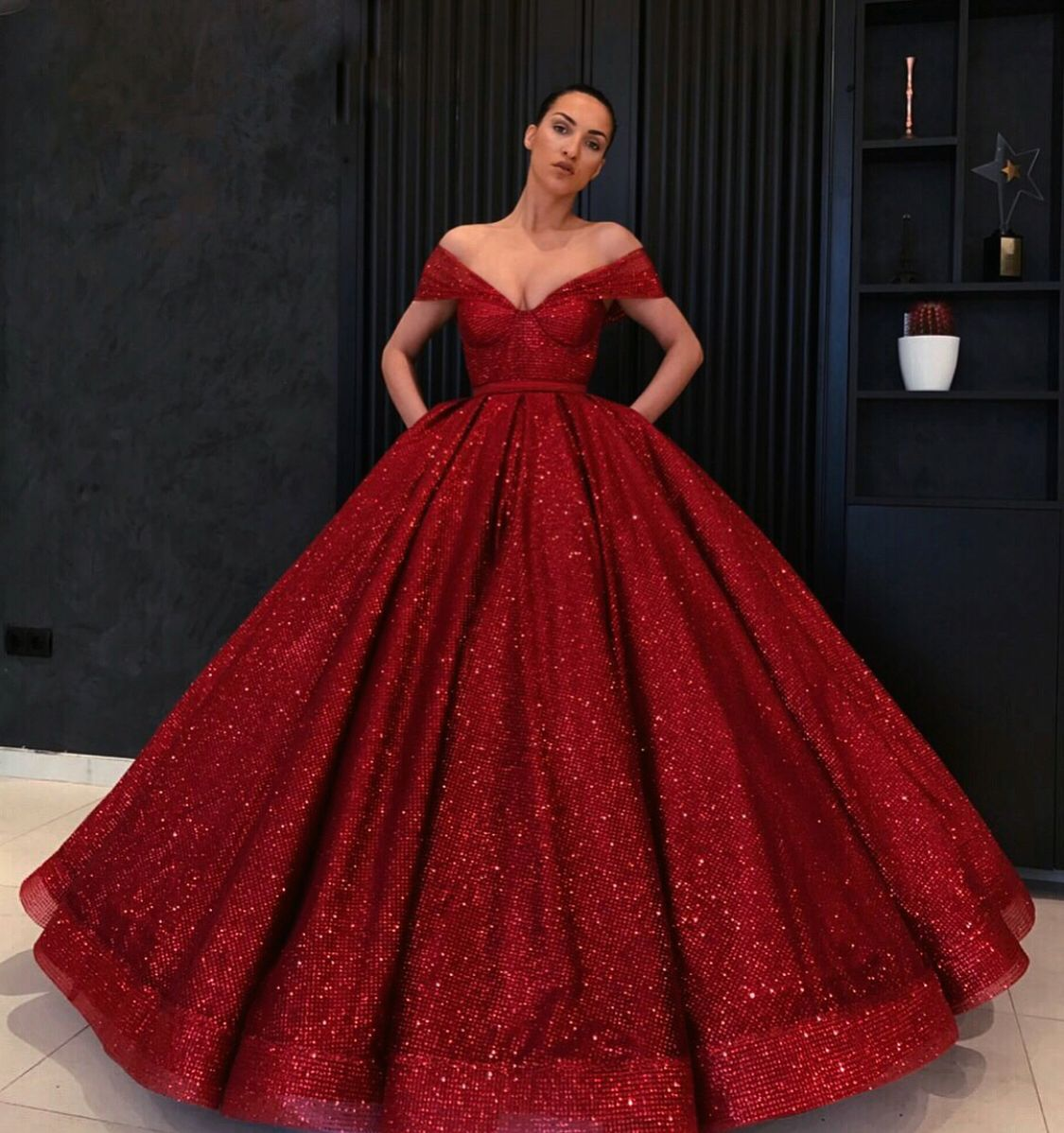 Off the Shoulder Burgundy High Quality Ball Gown,Amazing Burgundy ...