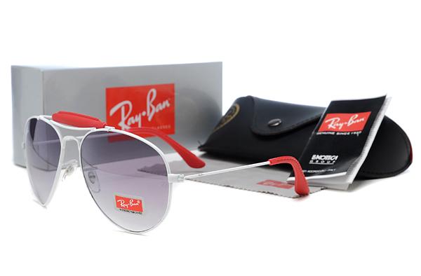 ray ban aviator red white frame