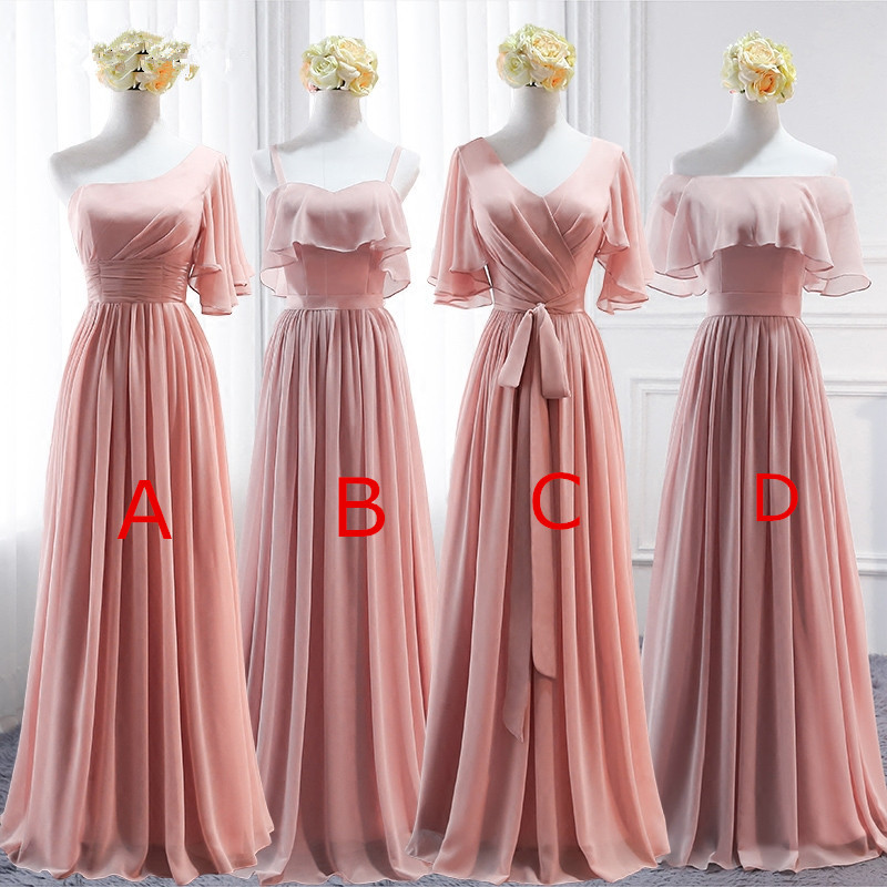 Pink Long Chiffon Bridesmaid Dress,Mismatched Wedding Party Dresses ...