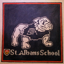 St. Albans Bulldog Pillow Canvas on 13 Mesh