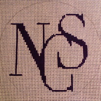 NCS, National Cathedral School Logo Ornament Canvas on 18 Mesh