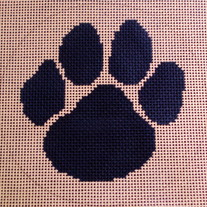 Holton-Arms School Paw Logo Ornament Canvas on 18 Mesh