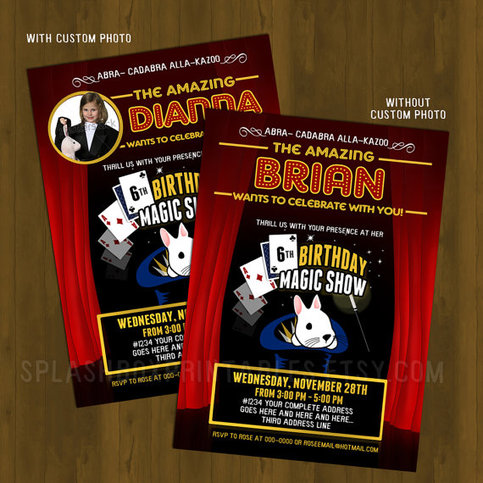 Magic Show Birthday Invitation · Splashbox Printables · Online Store ...