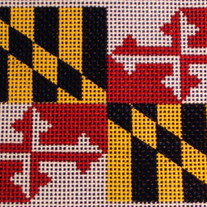 Maryland State Flag Ornament Canvas on 18 Mesh