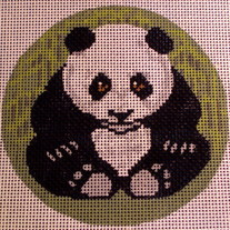 Panda Ornament Canvas on 18 Mesh