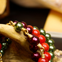 Crimson, Cranberry, and Olive Braided Bracelet