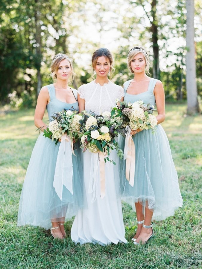Pale blue bridesmaid dresses, High low bridesmaid dresses, Scoop ...
