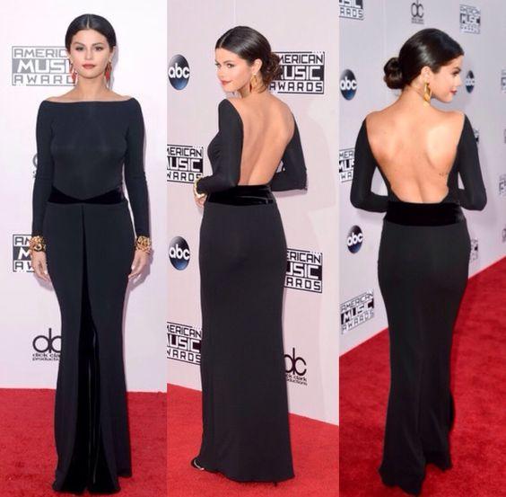 Inspired by SELENA GOMEZ Celebrity Dresses Black Mermaid Long Sleeve ...