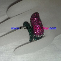 Pink & Green Jeweled Cocktail Ring
