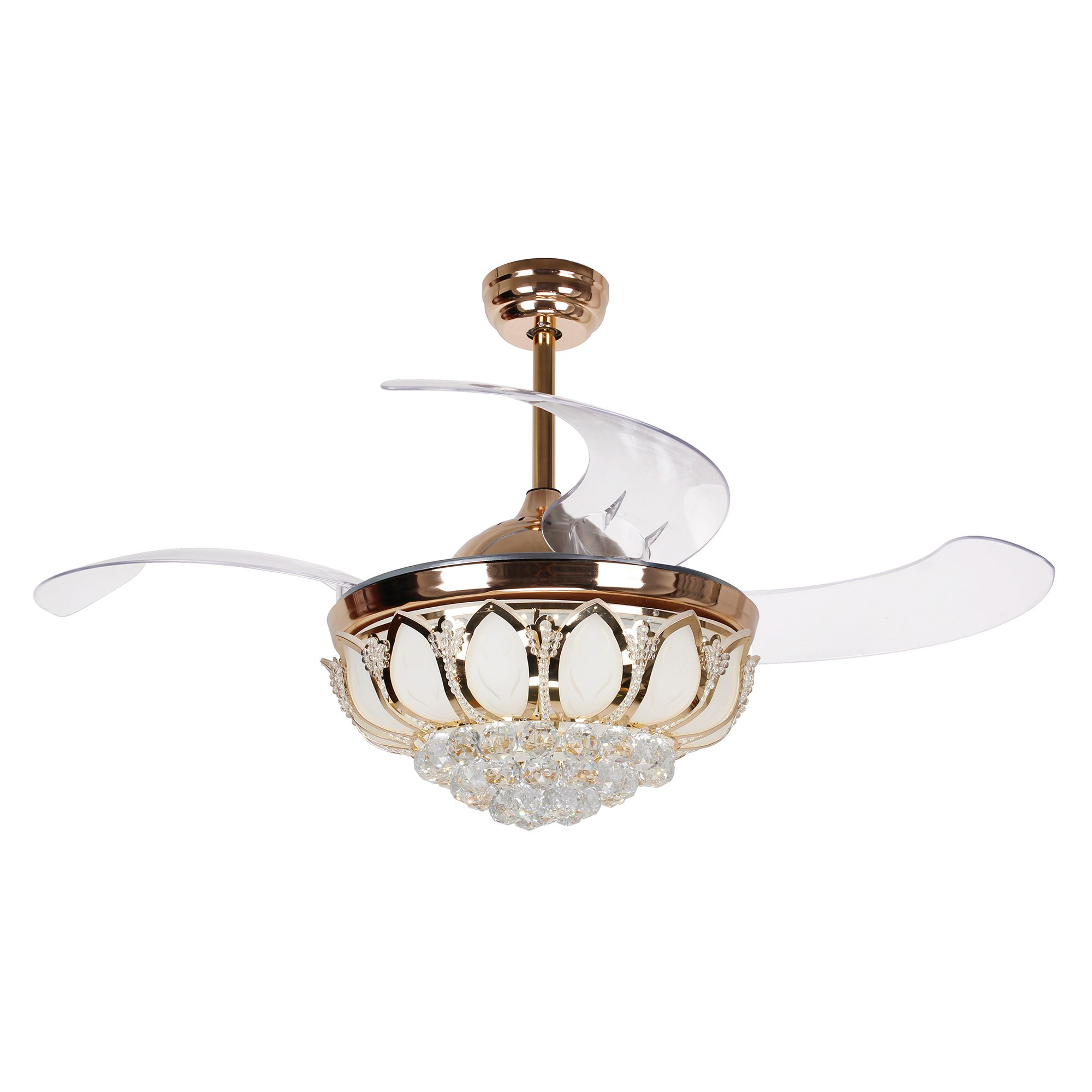 Crystal LED Ceiling Fan With Retractable Blades, Gold · Parrot Uncle ...