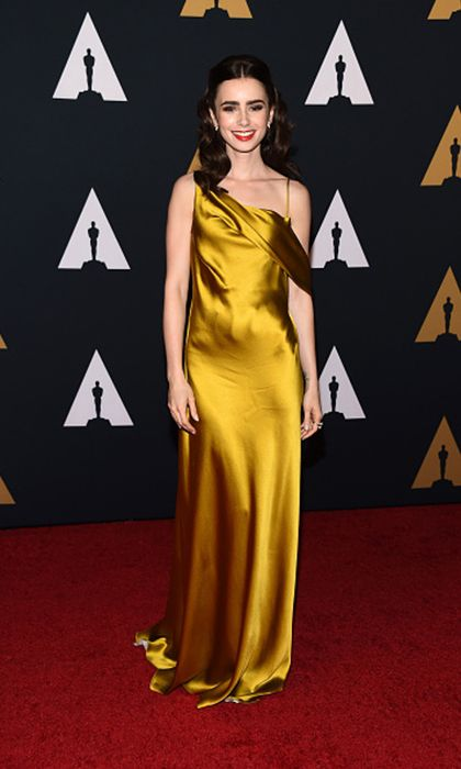 896ad6946d5 Inspired by Lily Collin Celebrity Dresses Gold Sheath Off Shoulder Prom  Dresses Evening Formal Gowns