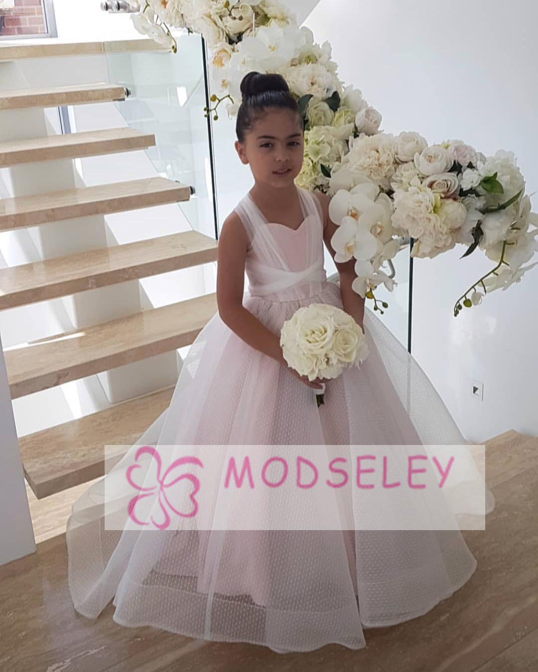 Princess Pink Long Flower Girl Dress Modseleystore Online Store