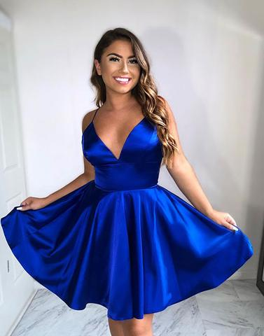 Simple A-Line V Neck Royal Blue Short Homecoming Dresses/Prom ...