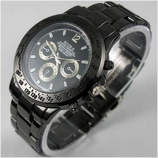 Rosra men 39 s quartz sport watch black tungsten stainless steel japan movement music express for Rosra watches