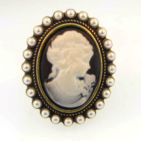 Antiqued Gold and Pearl Cameo Ring