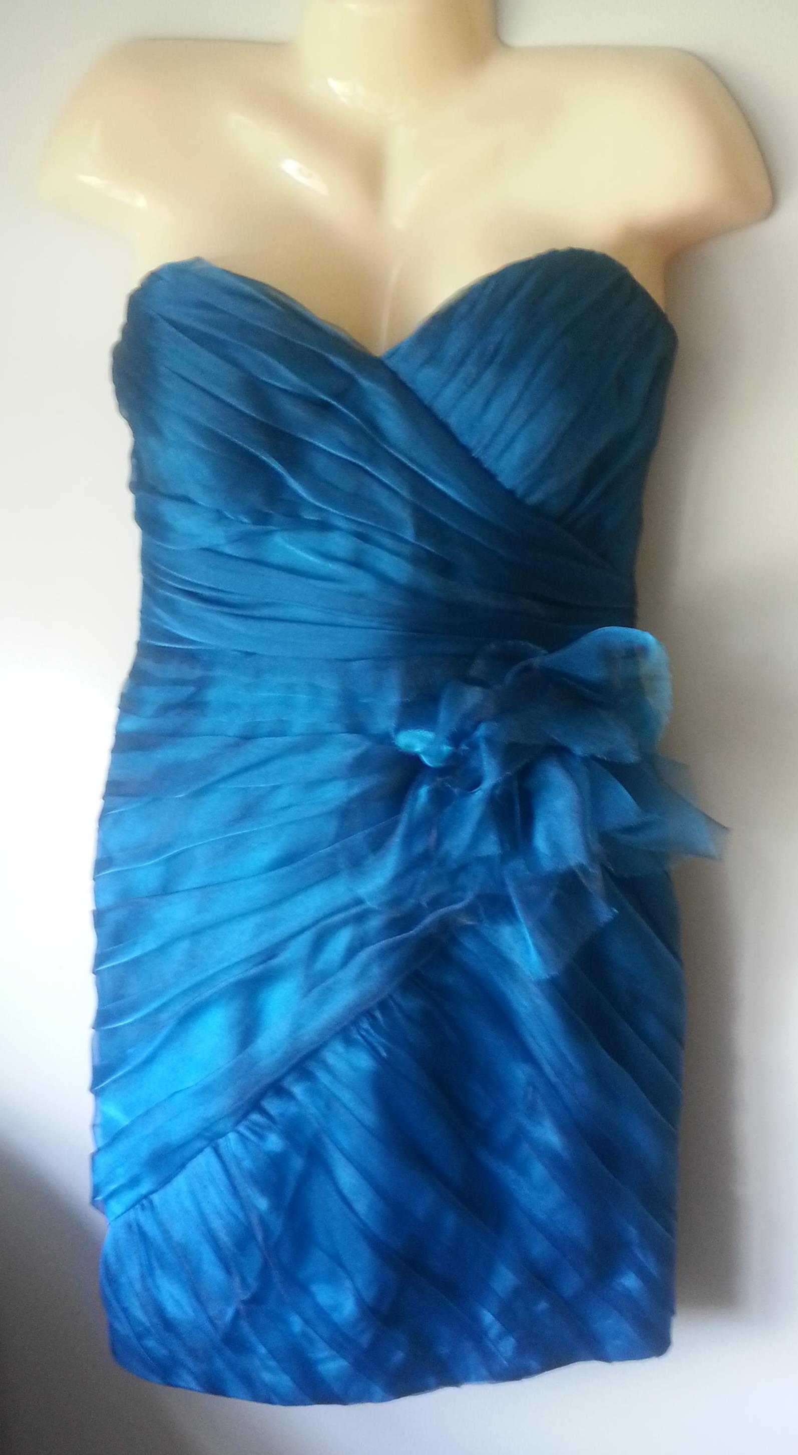Size 12 Theia Aqua Blue Shimmer Organza Strapless Cocktail Formal ...