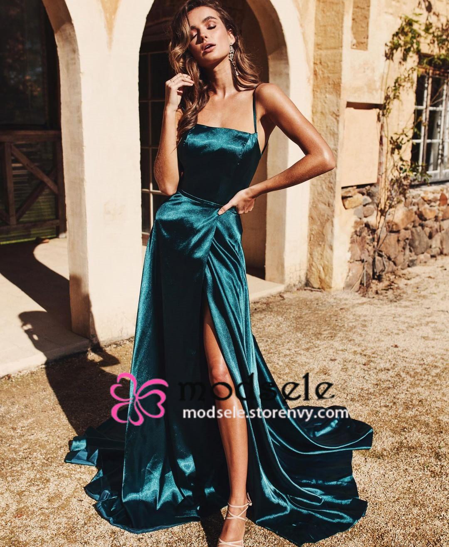 75780e6c00d Straps Dark Green Long Evening Dress with Side Slit · modsele ...
