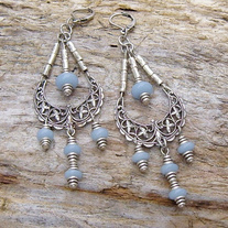 Antique Silver Chandelier Earrings with Blue Angelite Beads