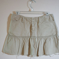 Khaki Ruffle Skirt by American Eagle
