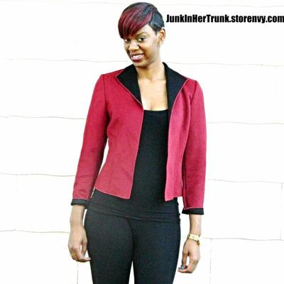 Red and black wool blazer
