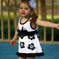 FREE SHIPPING & ON SALE DOOMAGIC Baby Romper - ROMPER ONLY White Dress with Black Flowers ruffle and bow accents