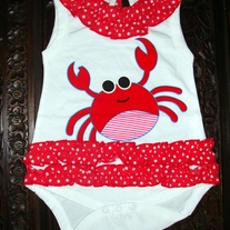 FREE SHIPPING & ON CLEARANCE SALE Summer Romper with the Nautical New England Crab Mofit Design
