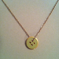 Mint Green & Gold Button Necklace