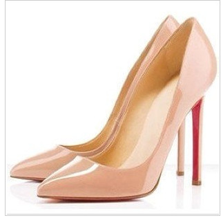 Nude Thin Heel Pointed Womens Pumps High Heels Red Bottom