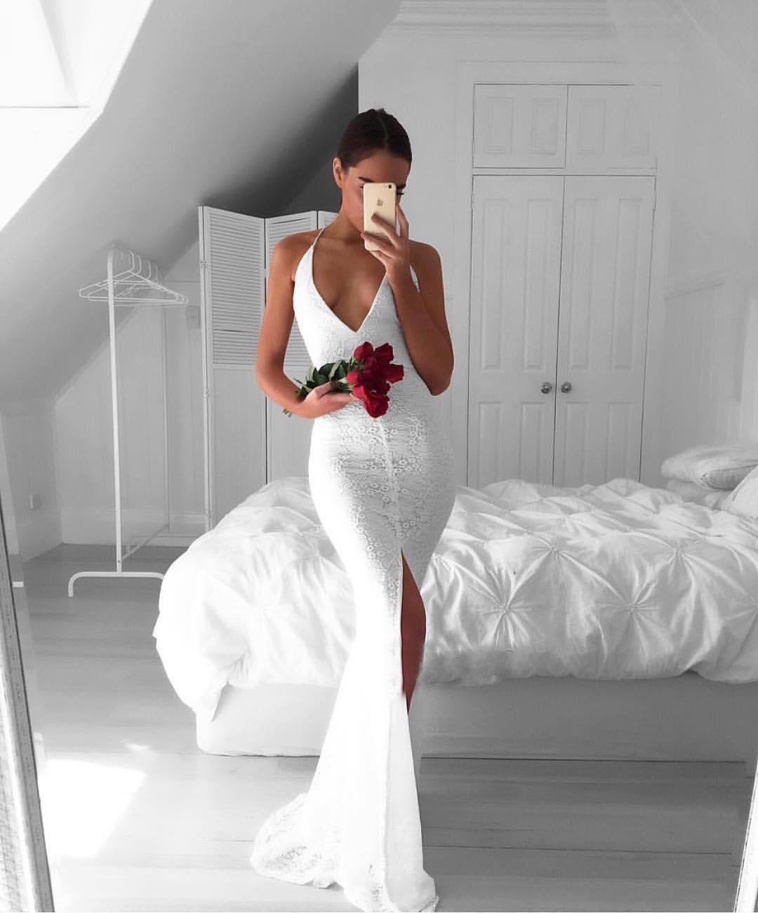 White Tight Wedding Dresses