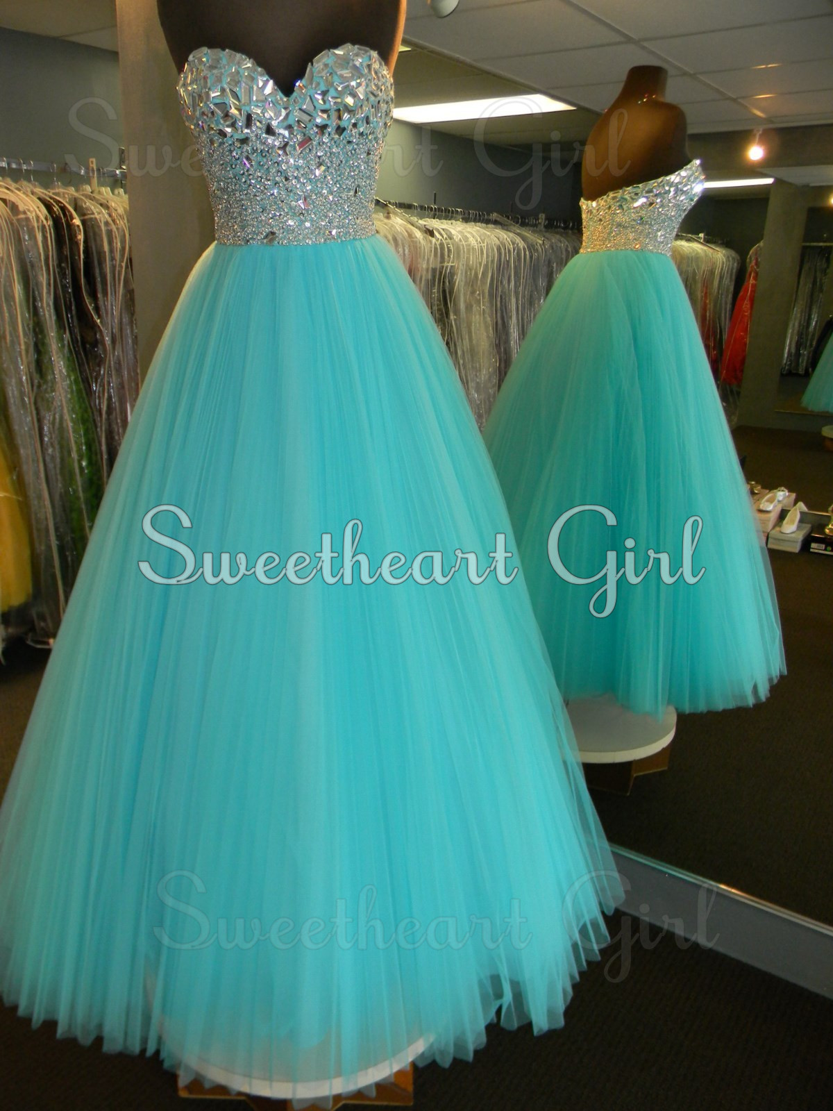 Sweetheart Girl | Amazing tulle rhinestones sweetheart neckline blue ...