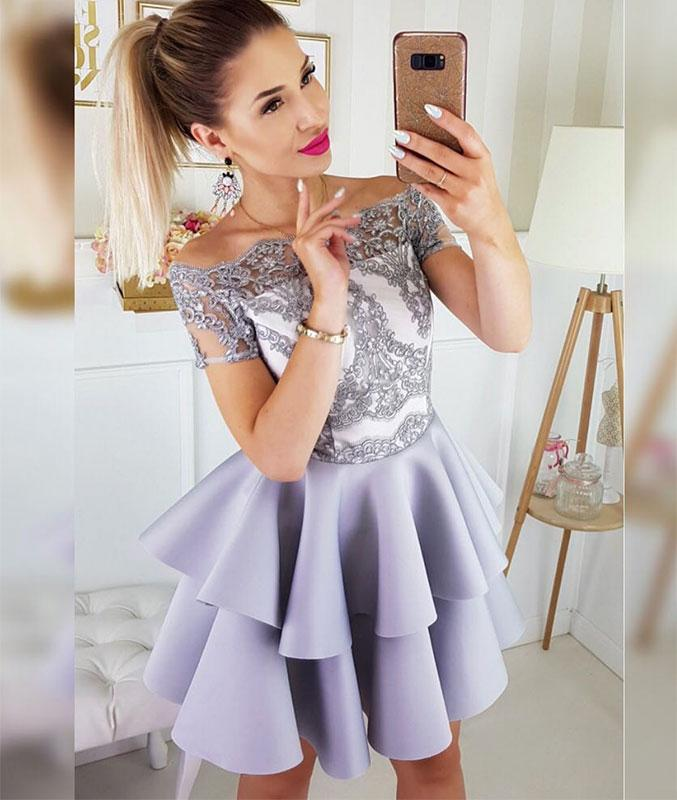 a2e0968471a Cute Off Shoulder Short Sleeves Lace Homecoming Dress