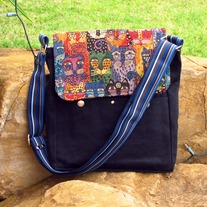 Postman Messenger Bag - Kitty in Blue Straps - Mother's Day Special - Was $79 Now $60