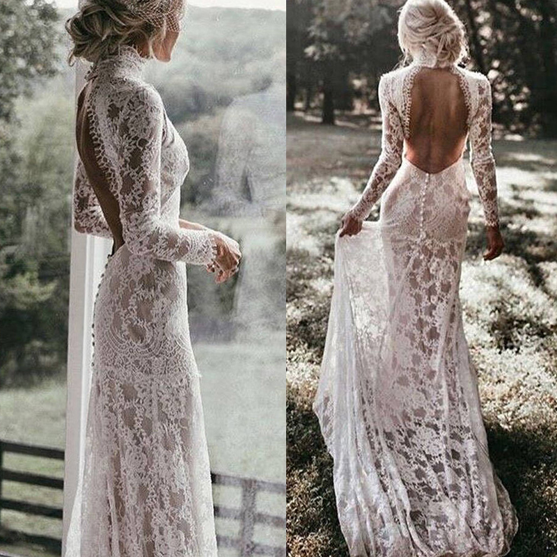 Vintage Lace Boho Mermaid Wedding Dresses Long Sleeves High Neck