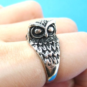 Owl Bird Shaped Animal Wrap Ring in Silver - US Sizes 6 TO 9