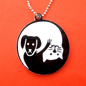 Yin Yang Puppy Dog Cat Animal Themed Pendant Necklace in Black White