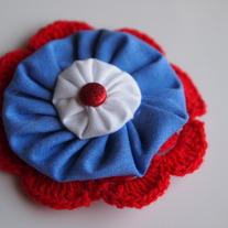Fourth of July fabric flower