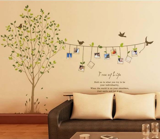 Removable vinyl family photo tree wall decal wall art wall for Diy family tree wall mural