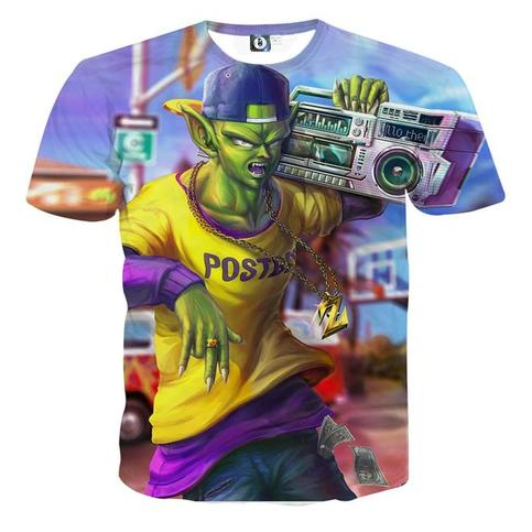 Dragon Ball Z Teen Piccolo Gangster Namekian Blue T Shirt