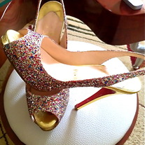 Christian Louboutin Lady Sling 100 Glitter Mini/Specchi Shoes Sz 7 1/2