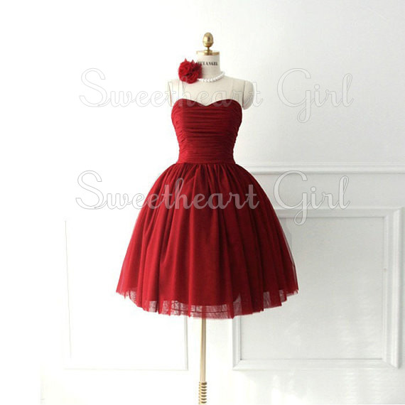 Sweetheart Girl | red strapless ball gown prom dress / homecoming ...