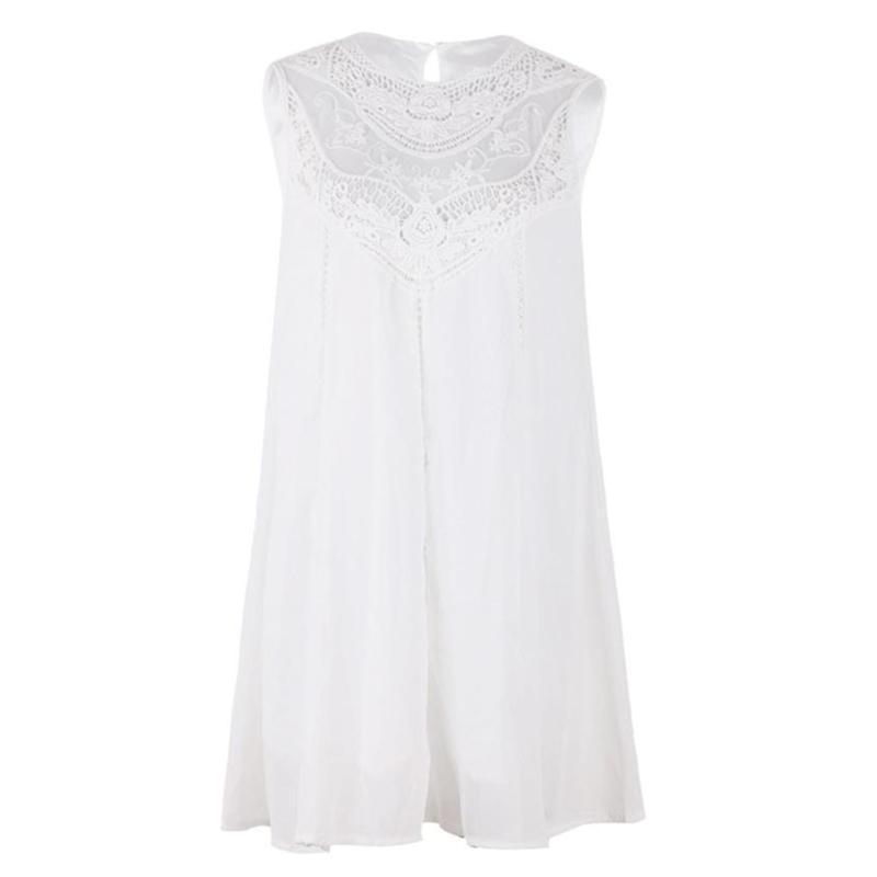 cff93a967e8 ... FREE Shipping Tassel Solid White Mini Sleeveless Lace Dress - Thumbnail  4