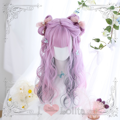 Japanese fashion harajuku double colors long curly wigs lolita wigs daily wigs lk19030720