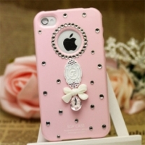 Big Bling Sparkle Tear Drop Crystal With Lace On Pink iPhone 4 Case