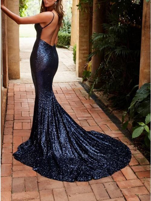 82bb655e1e6 ... Sexy V Neck Formal Gown Mermaid Prom Dress For Senior Sequin Rose Gold  Open Back ...