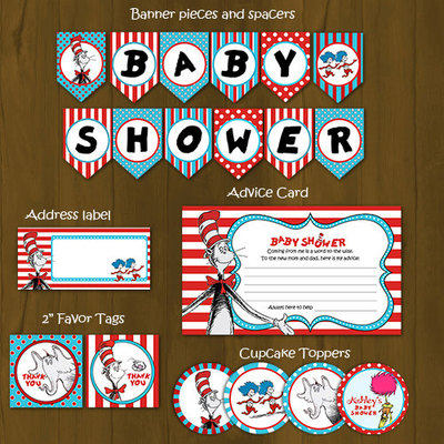 Dr Seuss Printable Baby Shower Package - Cat in a Hat Baby Shower DIY Set
