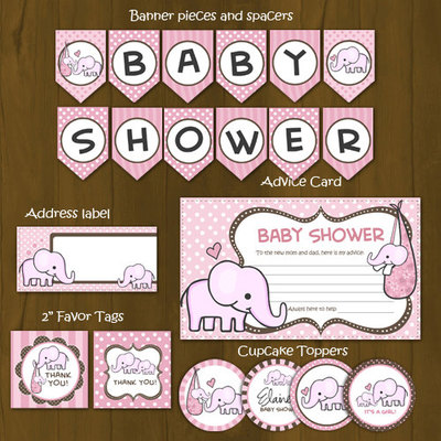 Pink Elephant Printable Baby Shower Package