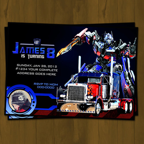 Optimus Prime Transformers Birthday Invitation Splashbox